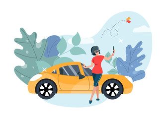 Girl taking selfie in front of luxury car. Flat vector illustration.