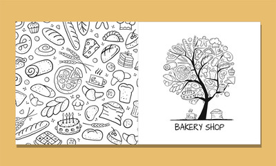 Fotobehang - Greeting cards, design idea for bakery company