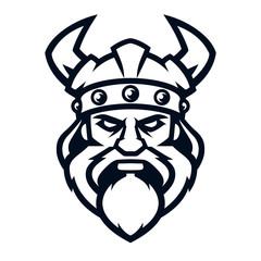 Professional logo viking warrior, sport mascot. Vector illustration, isolated on white background. Simple shape for design emblem, icon, symbol, sign, badge, label, stamp.