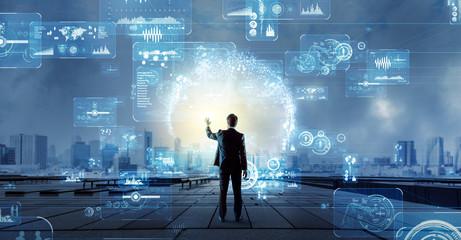 Obraz businessman and technology - fototapety do salonu