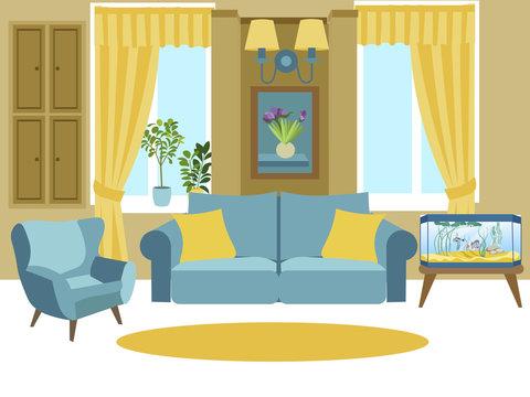 Living room interior. Cartoon vector illustration flat