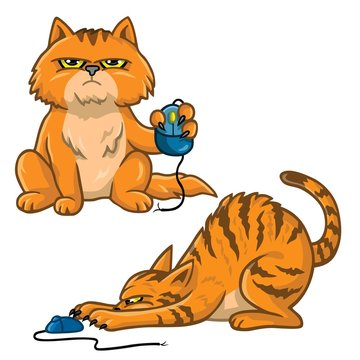 Cat Cartoon Set Playing With Computer Mouse Vector Illustration