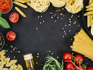 Flat lay composition of pasta with copyspace