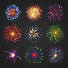 Fototapeta Big set of different fireworks with shining sparks. Colorful pyrotechnics show elements. Realistic fireworks celebration isolated on transparent background. Fantastic light performance in night sky. obraz