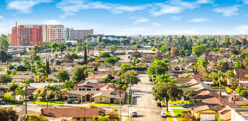 Panoramic view of a neighborhood in Anaheim, Orange County, California