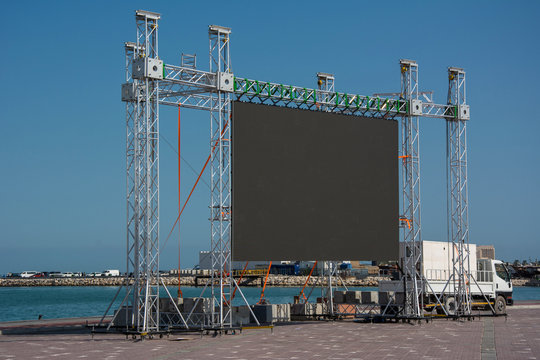 Large blank open-air outdoor LED screen for public event such as presentation, concert, cinema, conference, movie,festival, show