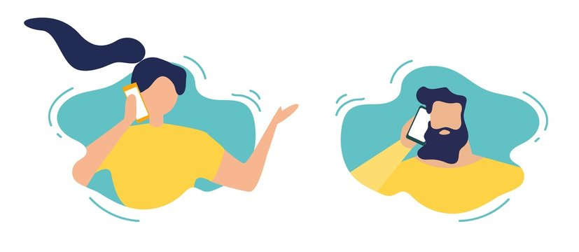 Man and Woman in Speech Bubbles Talking Phone