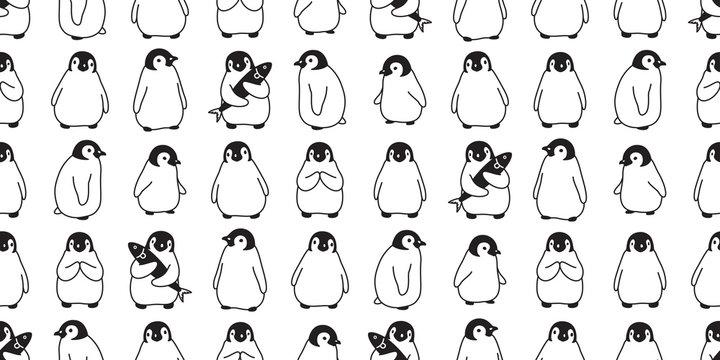 penguin Seamless pattern vector bird cartoon polar bear scarf isolated tile background repeat wallpaper doodle illustration design