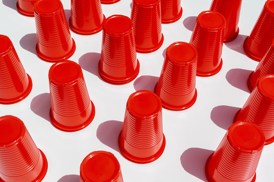 Red Plastic Drinking Cups pattern as a background