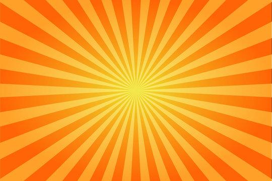 Sunburst retro sun rays yellow background. Abstract summer sunny. Vintage radial texture.