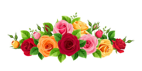 Vector horizontal bouquet with red, pink, orange and yellow roses isolated on a white background.