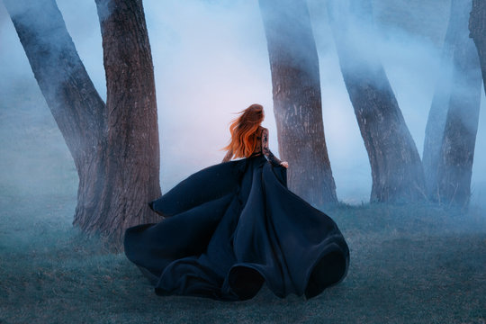 black widow in a long dark silk lace dress, a girl with gorgeous light red hair runs off into a secret forest, the sorceress turns into a wild flower, queen of night hiding from the morning sunlight