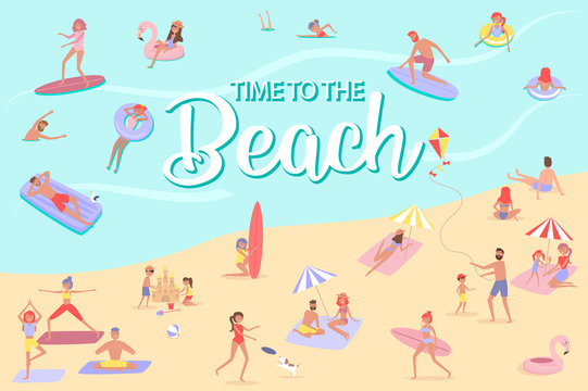 Summer beach concept. Different scenes of people on the beach. People relax on the beach, sunbathe, play sports and yoga, swiming in the sea, ride the surf. Editable vector illustration.