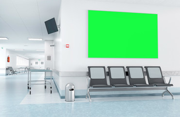 Mock up of a frame in a waiting room of a hospital