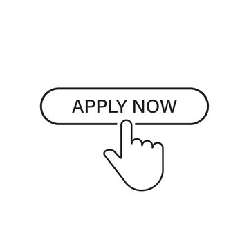 Apply now linear button icon isolated with hand pointer. Click finger illustration. Registration button.