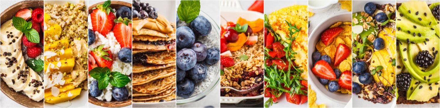 Collage of varied healthy breakfasts.