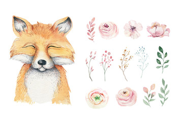 Wall Mural - Watercolor forest cartoon isolated cute baby fox, animal with flowers. Nursery woodland illustration. Bohemian boho drawing for nursery poster, pattern