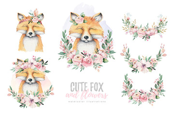 Watercolor forest cartoon isolated cute baby fox, animal with flowers. Nursery woodland illustration. Bohemian boho drawing for nursery poster, pattern
