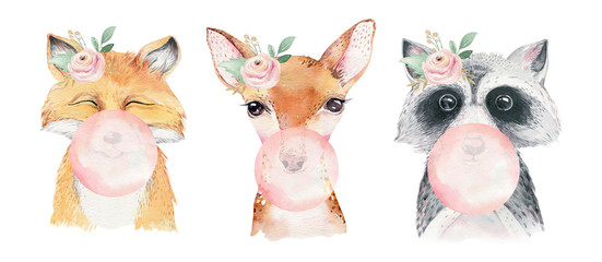 Wall Mural - Watercolor set of forest cartoon isolated cute baby fox, deer, raccoon and owl animal with flowers. Nursery woodland illustration. Bohemian boho drawing for nursery poster, pattern