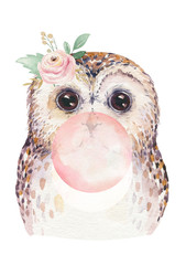 Wall Mural - Watercolor forest cartoon isolated cute baby owl with gum, animal with flowers. Nursery woodland illustration. Bohemian boho drawing for nursery poster, pattern