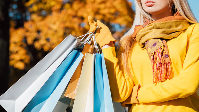 Autumn sale. Cropped shot of lady standing with shopping bags. Blur fall yellow trees background.