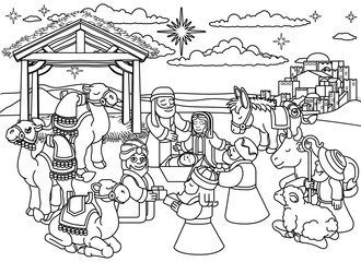 A Christmas nativity coloring scene cartoon, baby Jesus, Mary and Joseph in manger. Three wise men, shepherd donkey other animals and the City of Bethlehem and star. Christian religious illustration.