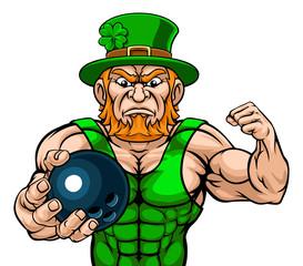 A leprechaun bowling sports mascot holding a ball