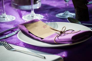 Wedding table setting .