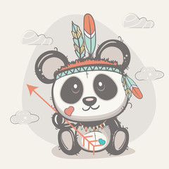 cute panda with feathers
