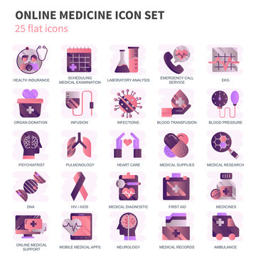 Healthcare and medicine, medical equipment icons set for website and mobile site and apps. Contains such Icons as Ambulance. Flat vector illustration
