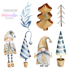Watercolor collection of Christmas tree toys and scandinavian elfs, hand drawn isolated on a white background