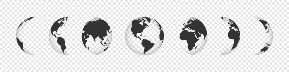 Earth Globe Collection. Black earth globes icons isolated on transparent background Fototapete