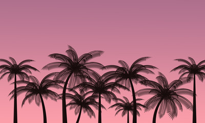 Foto op Plexiglas Candy roze Palm trees against the pink sky. Landscape of a tropical island. Romantic sunset. 3d rendering