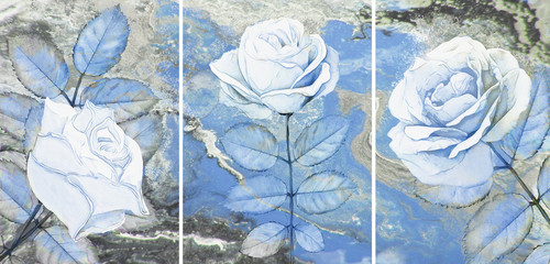 Collection of designer oil paintings. Decoration for the interior. Modern abstract art on canvas. Set of pictures with different textures and colors. White rose.