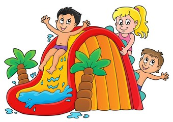 Wall Murals For Kids Kids on water slide theme image 1