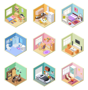 Isometric rooms. Designed house, living room kitchen bathroom bedroom toilet apartment interior with furniture 3d vector set. Kitchen isometric room, indoor bathroom, bedroom interior illustration