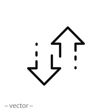 arrows up down icon, two arrows linear sign isolated on white background - editable vector illustration eps10