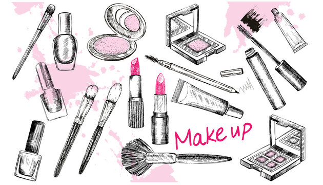 Beauty store collection with make up.