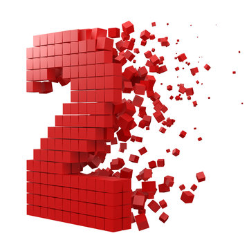 number 2 shaped data block. version with red cubes. 3d pixel style vector illustration.