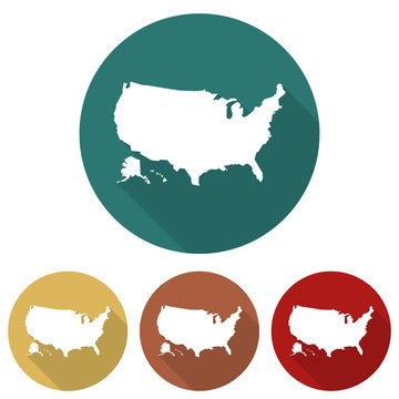 Set of icons USA map in a flat design