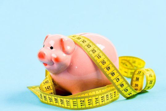 Financial situation. loan concept. Take credit. low pay. Saving money. Deposit. Economy and budget increase. piggy bank with measurement tape. Moneybox. money diet. finance and commerce