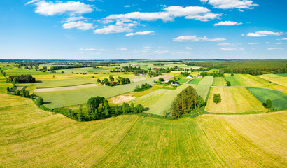 Green fields and trees of Polish countryside stretch to the horizon under white clouds and blue sky Fototapete