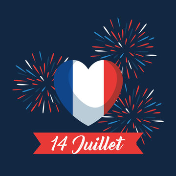 heart france flag with fireworks and ribbon
