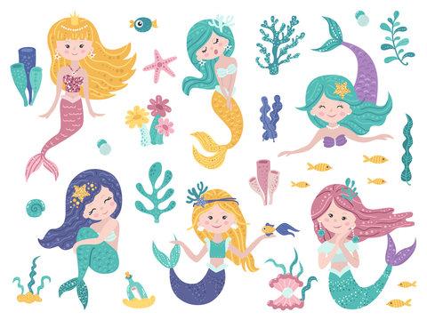 Set of cute mermaids and sea nature.