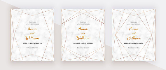 Golden polygonal lines frames on the marble texture. Geometric wedding invitation. Trendy templates for banner, flyer, poster, greeting.