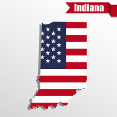 Indiana State map with US flag inside and ribbon