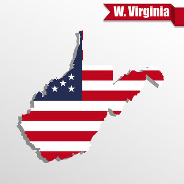 West Virginia State map with US flag inside and ribbon
