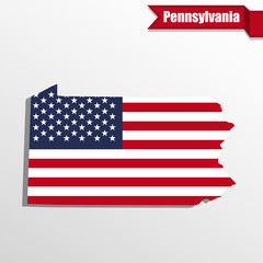 Pennsylvania State map with US flag inside and ribbon