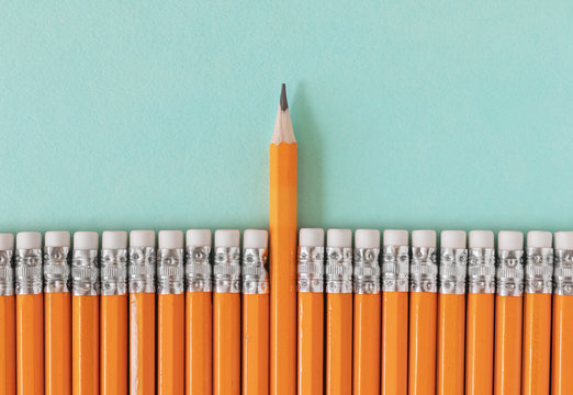 Row of orange pencils with one sharpened pencil. Leadership / standing out from a crowd concept with copy space.