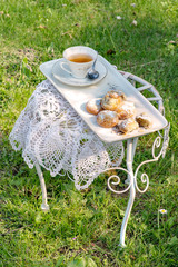 Tea time in the garden in the sunny day